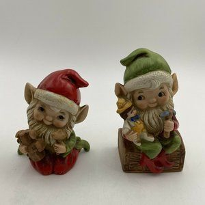Vintage Homco Christmas Elves Elf Figurines 2pc